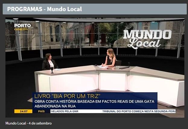 """O livro """"Bia por um triz"""" no Programa """"Mundo Local"""" do Porto Canal"""