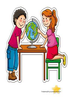Niños en clase de geografia Niños en el colegio para imprimir