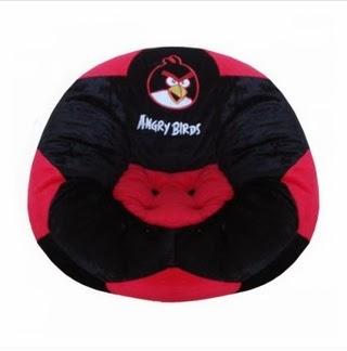 Sofa Boneka Bola Angry Birds Merah Hitam