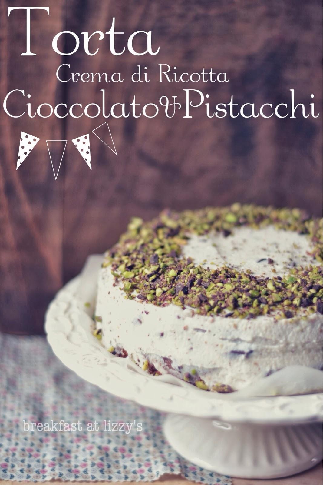 Torta con Crema di Ricotta Cioccolato e Pistacchi