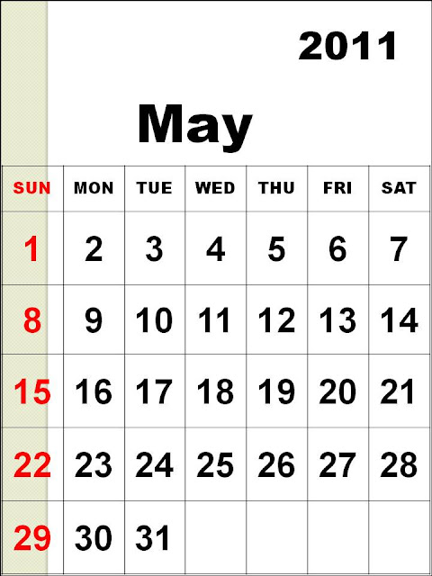 may 2011 holidays. MAY 2011 PRINTABLE CALENDAR