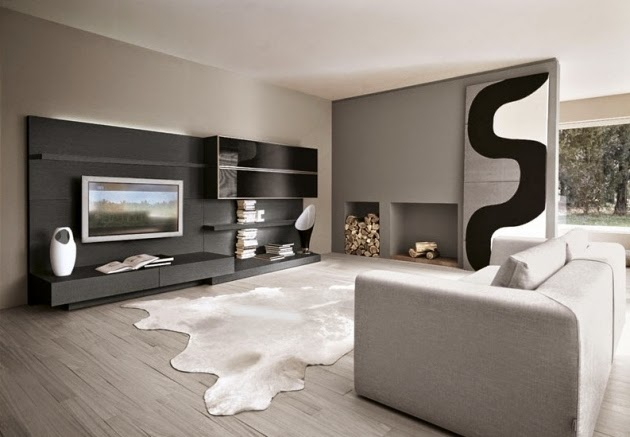wall color combination black and white modern living room - Colour Combinations For Living Room
