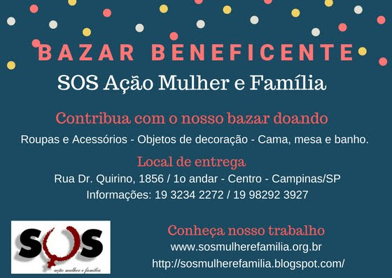 Contribua com a causa do SOS Ação Mulher e Família!