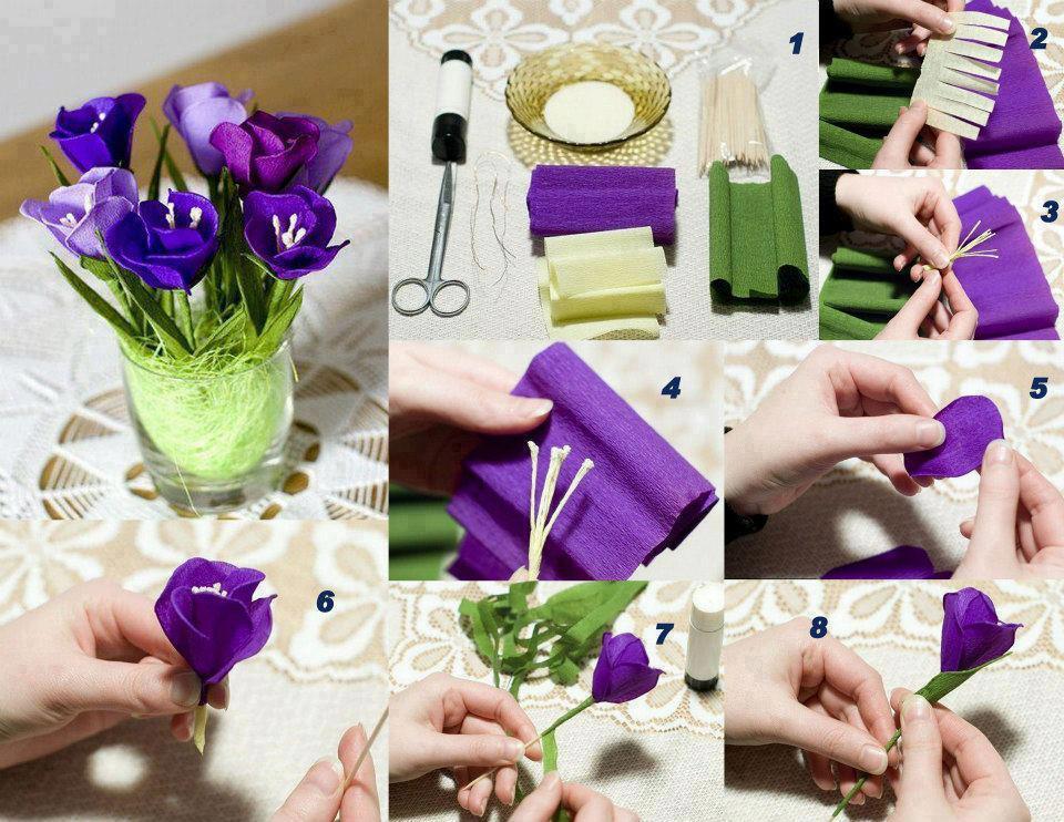 Estos bellos tulipanes morados solo requirieron un poco de papel y tiempo para realizarlos y como ves en el tutorial grafico, es muy sencillo de hacer.