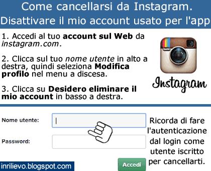 cancellarsi da instagram