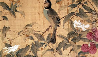 Birds and flowers, detail from a horizontal scroll (Chao Chi)