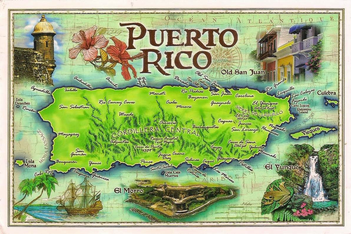 thank you so much charlie for sharing with me this wonderful postcard with classic styled puerto rico map