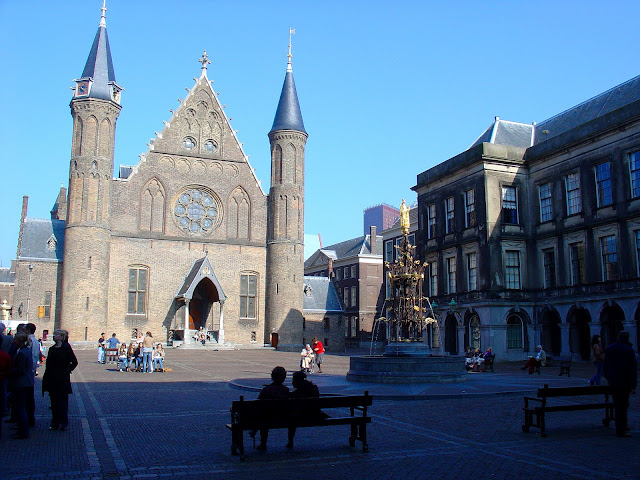 Completed in the 13th century, the Knight's Hall or 'Ridderzaal' is part of the Binnenhof Parliament buildings in The Hague.