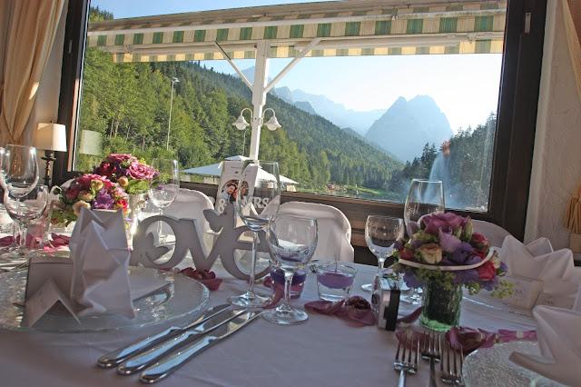Brauttisch im Seehaus am Riessersee, Garmisch, Hochzeit im Seehaus
