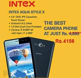 Best Selling Mobile: Intex Aqua Style X 4.5″ IPS Display, 1.3 GHz Quad-Core 8MP Cam Smartphone for Rs.4156 Only @ ebay