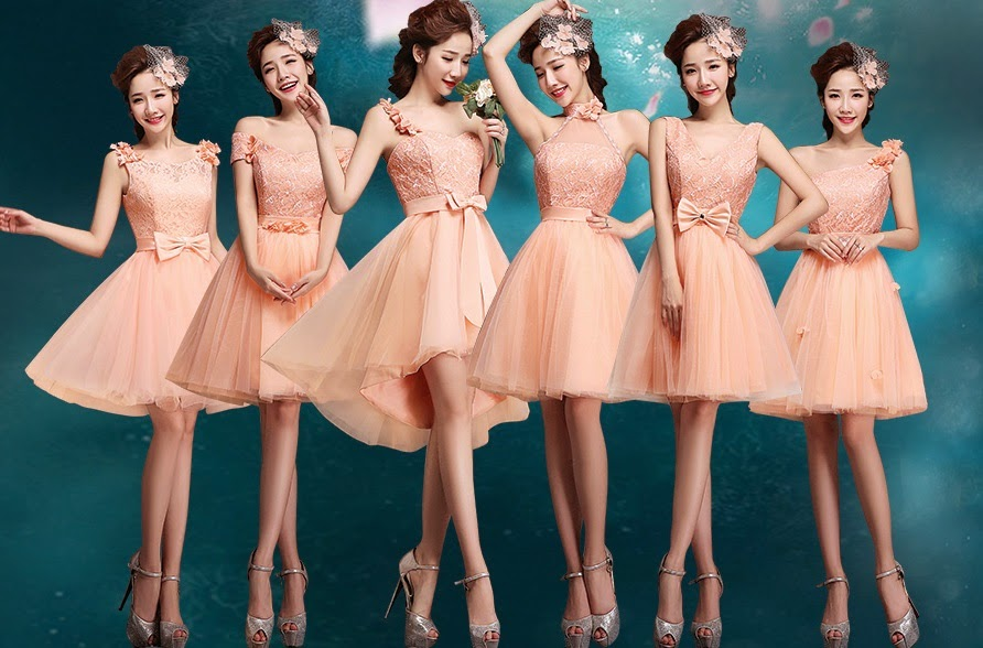 Six-Design Coral Lace Top Tutu Midi Bridesmaids Dress