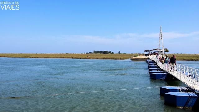 Puente flotante sobre la ría Formosa