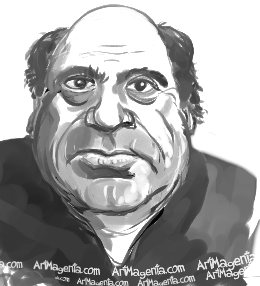 Danny DeVito caricature cartoon. Portrait drawing by caricaturist Artmagenta