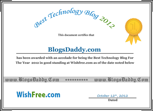 Certificate For Winning Tech Blog Award 2012 – Certificate Winner