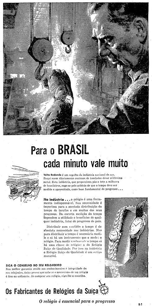 Propaganda veiculada nos anos 50 que defendia a importância da Companhia Siderúrgica Nacional para os Fabricantes de Relógio da Suíça