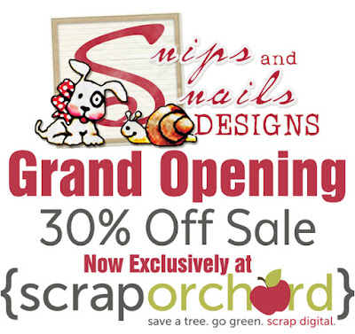 Snips and Snails Designs Grand Opening at Scrap Orchard Digital Scrapbook Sale