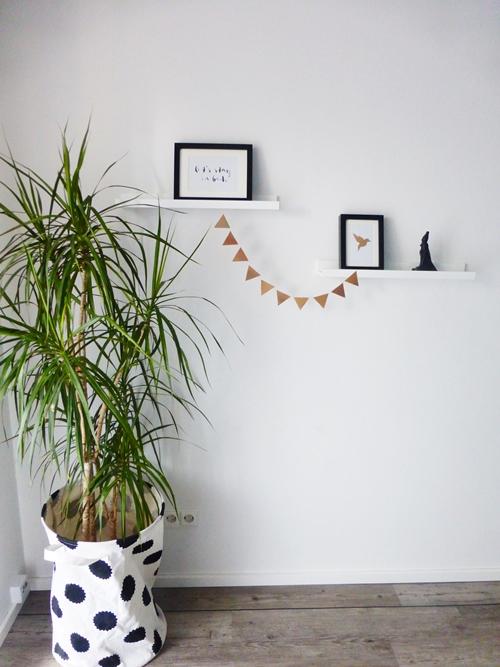 Dekoration DIY Kupfer Origami Wimpelkette black white