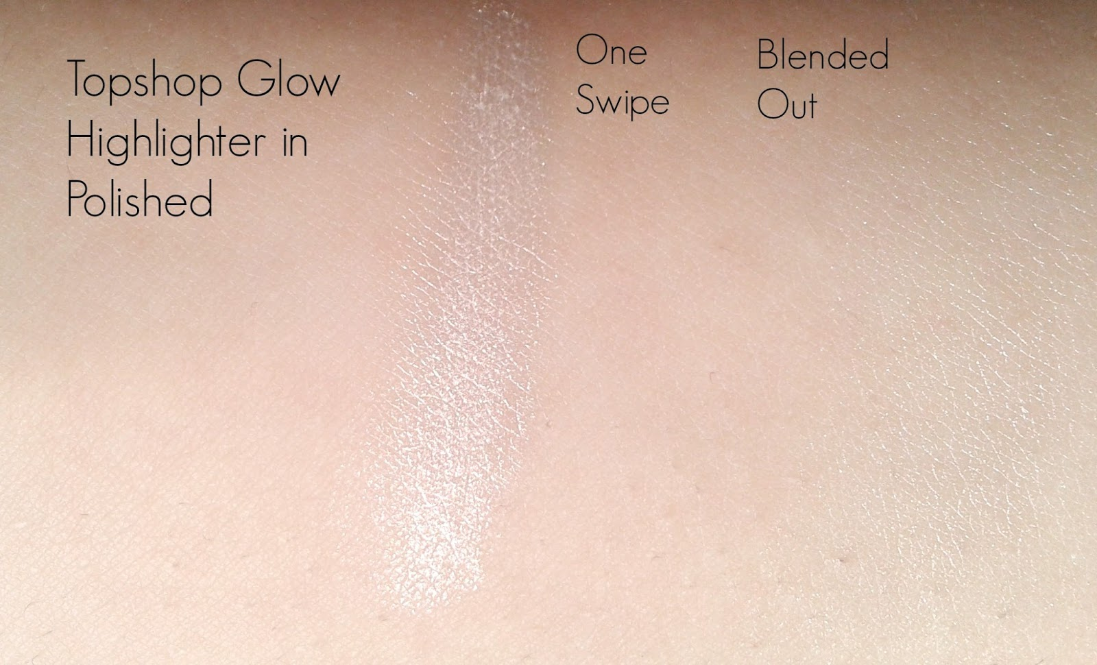 A picture showing swatches of the topshop highlighter