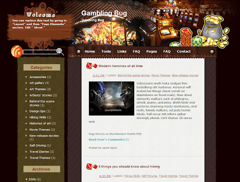 Gambling Bug Blogger Theme