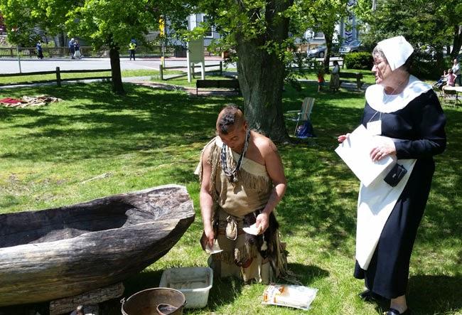 Indian, canoe, pilgram