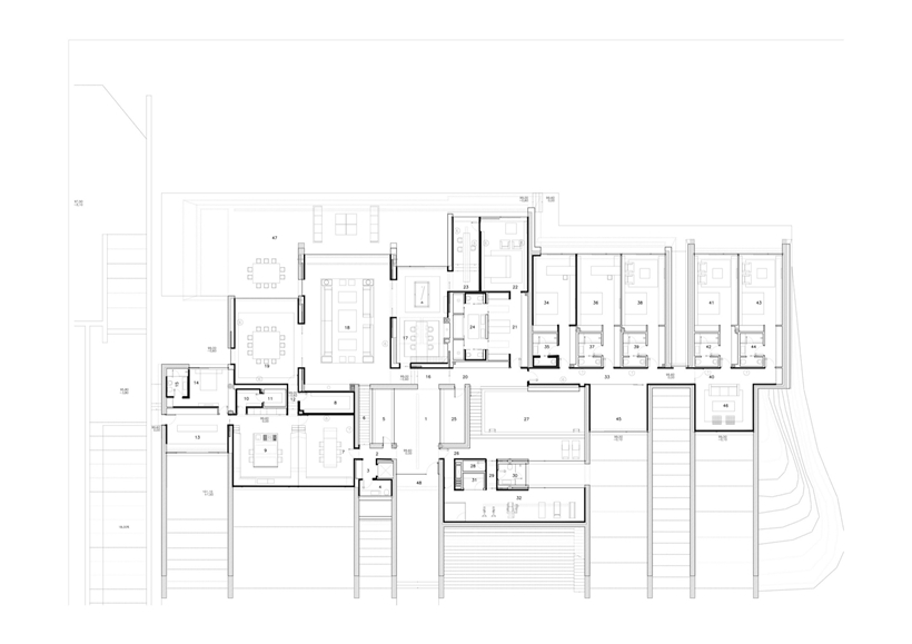 Ground floor plan of Ultra Modern Concrete House by A-cero Architects