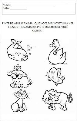 Atividades sobre animais - Pinte o animal de azul