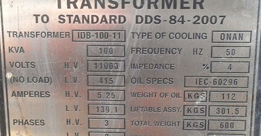 Transformer Nameplate Rating