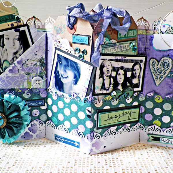 Accordion Fold Tag Pocket Mini Album by Lisa Novogrodski using BoBunny Enchanted Garden and Zip A Dee Doodle Collections