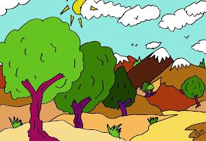 Dibuja y colorea un paisaje