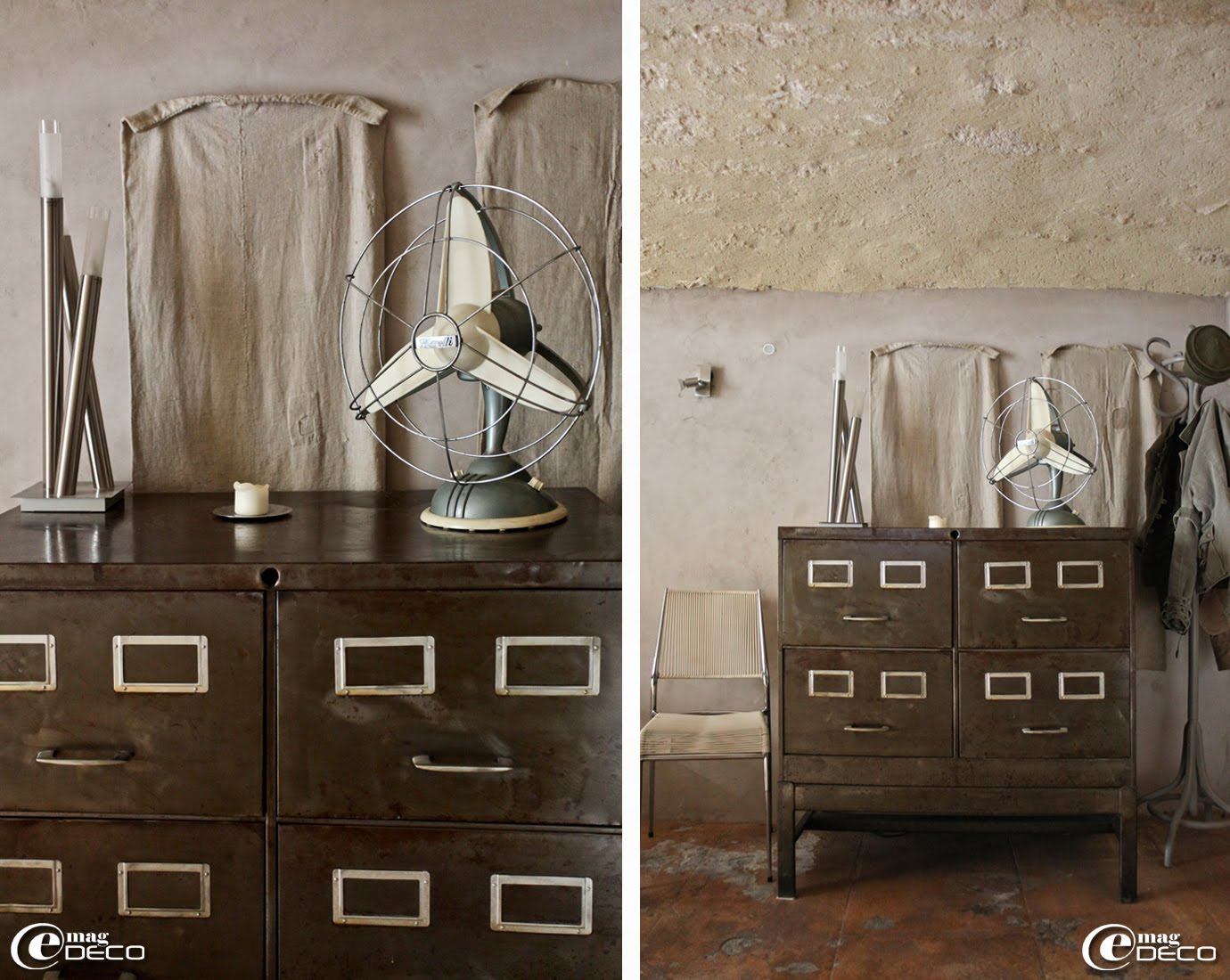 Dans un esprit vintage, un vieux ventilateur Marelli et une chaise Scoubidou recouverte de fils de plastique