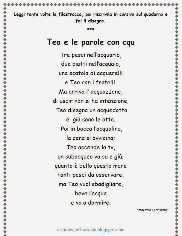 """Favorito A scuola con fantasia : LE PAROLINE CON """"CQU"""" XR43"""