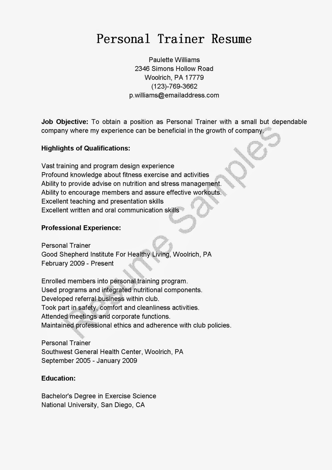 Resume For Personal Trainer