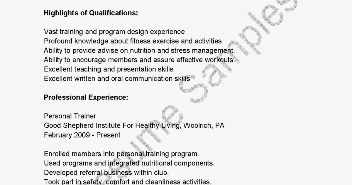 Online Trainer Sample ResumePersonal Trainer Resume Health And – Trainer Resume