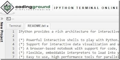 http://www.tutorialspoint.com/ipython_terminal_online.php