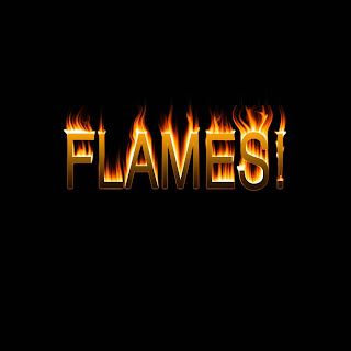 Flames on art letters a z