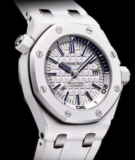 Audemars piguet royal oak offshore diver white ceramic watch for Royal oak offshore ceramic
