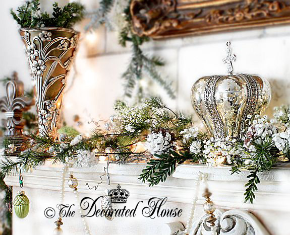 The Decorated House : Christmas Mantel : White with Mercury Glass and Silver
