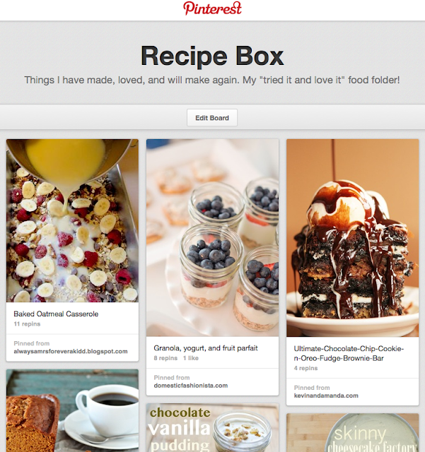 Create a recipe box folder on Pinterest for recipes you like and want to keep.  Makes it easier on you and your followers for recipes proven worth trying!