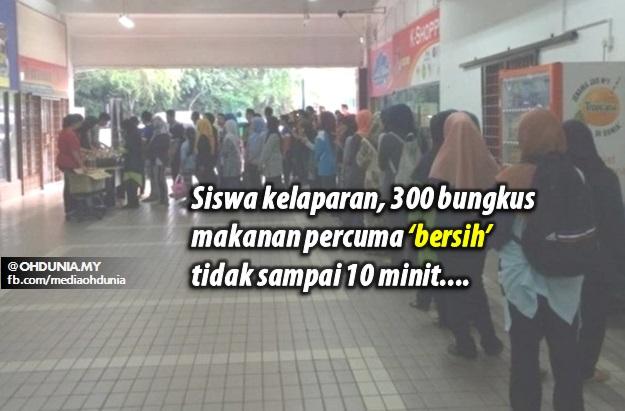 Siswa kelaparan, 300 bungkus makanan percuma 'bersih' tidak sampai 10 minit
