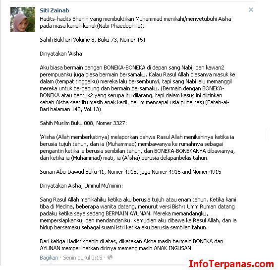 Lagi! Penghinaan Islam di Facebook dengan Akun Siti Zainab