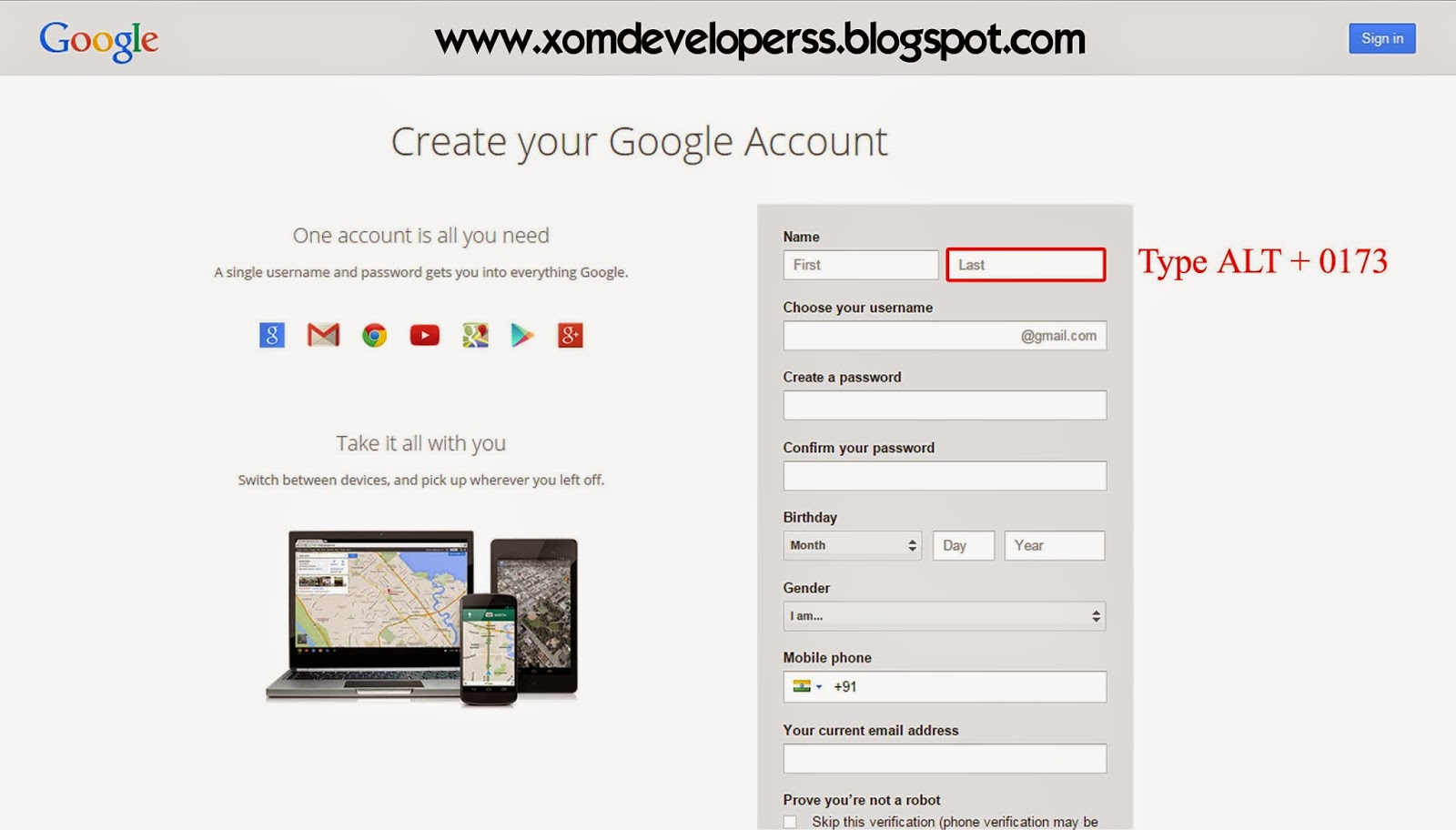 How to create gmail