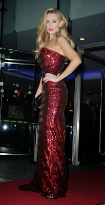 Catherine Tyldesley strapless red gown to the Mirror Ball in Manchester