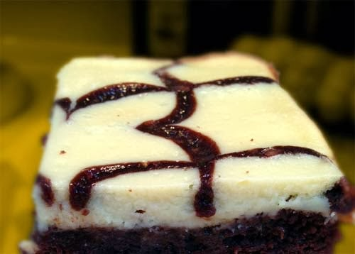 Brownies baked with Cheesecake on top.