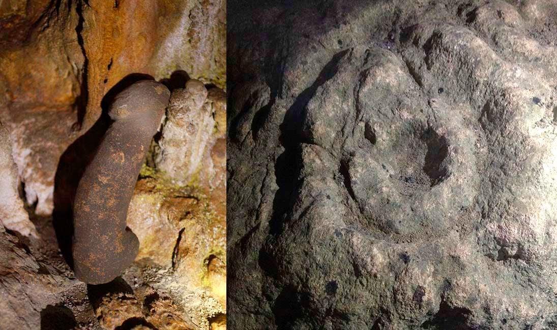 Al otro lado del mundo, en los rituales mayas de transición a la pubertad, cuando las niñas cumplian trece años las llevaban a una cueva para quitarle la concha que cubría su parte íntima y pendía con un hilo, entonces la madre cortaba el hilo, le quitaban la concha y le ponían una faldilla. Después de que reglaba ya estaba lista para casarse. Hasta no hace mucho estas ceremonias se celebraban en muchas partes de Mesoamérica. En la cueva de Aktún Usil en Yucatán, México, se han encontrado esculturas en forma de falo y de vagina que se usaban en los rituales de unión de parejas.