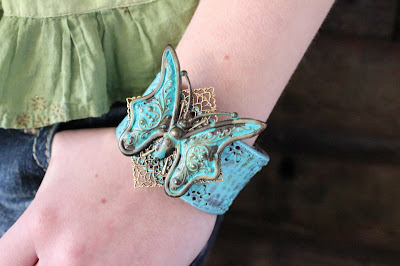 Upcycled Turquoise Butterfly Leather Cuff by Ever Designs Jewelry Bracelet Blue Aqua Verdigris