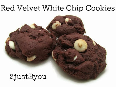 white chocolate chip cookies, red velvet cookies, cookies