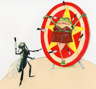 illustration by robert wagt of a knife thrower frog and fly couple in a circus
