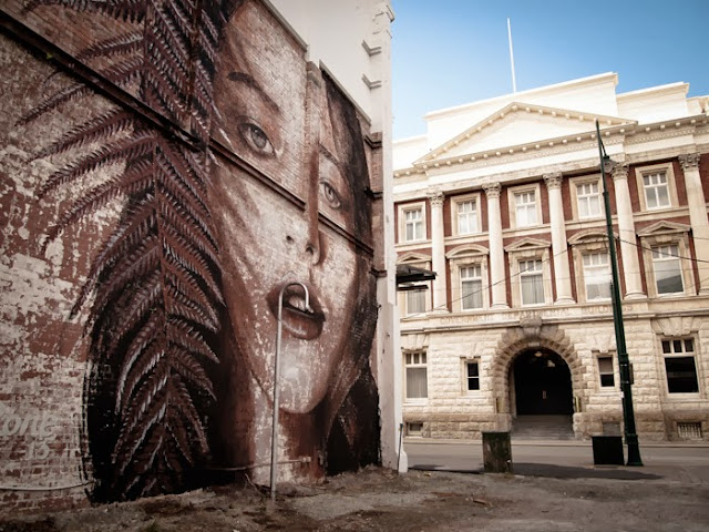 New Street Art Mural By Australian Artist RONE on the streets of Christchurch, New Zealand 2