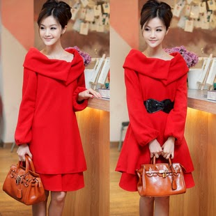 Evening dress red long-sleeve dress Christmas wedding party