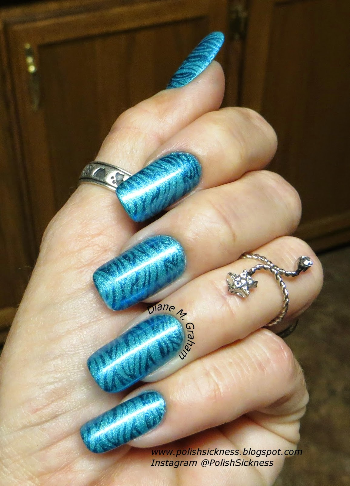 Sally Hansen Satin Glam Teal Tulle, Orly Sweet Peacock, MoYou Sailor 04 stamp